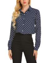 SE MIU Women's Chiffon Long Sleeve Polka Dots Office Button Down Blouse Shirt Tops