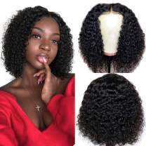 Ainmeys short bob wigs 4x4 lace closure wigs brazilian curly wave Lace Front wigs human hair curly bob wigs for black women 150% Density Pre Plucked with bady hair (8inch bob, 4x4 lace closure)