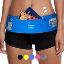 Slim Running Belt Waist Pack - Ultra Light Fanny Pack for Women & Men, Fits All Large Phones, Money Belt Waist Bag for Gym Workout Hiking Travel, with Strip Fastener & Concealed Zipper (3 Pockets)