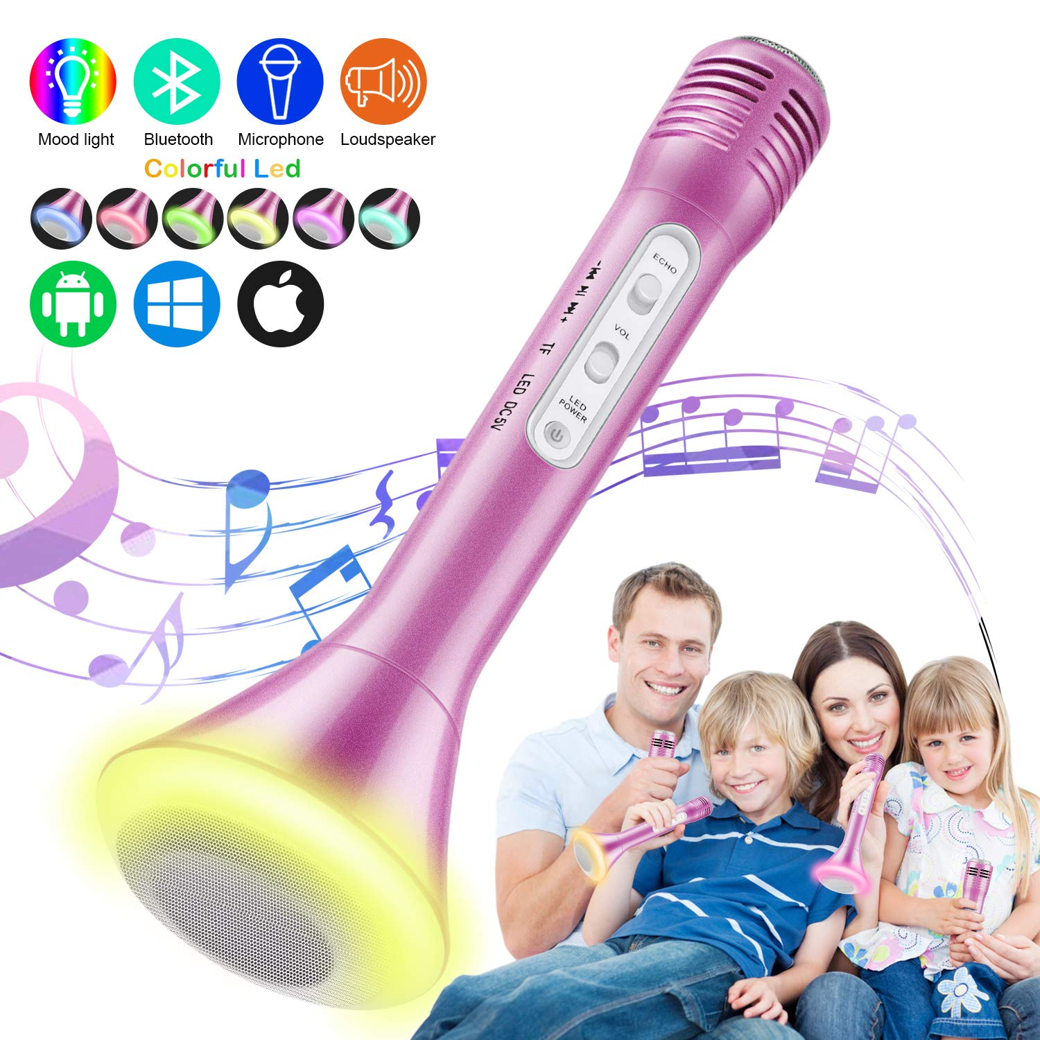 Magicfun Kids Microphone, Karaoke Microphone Bluetooth Wireless Portable Handheld Easter Christmas Birthday Home Party Gifts Toys for 4 5 6 7 8 9 4+ Year Old Girls Boys Microphone (Pink)