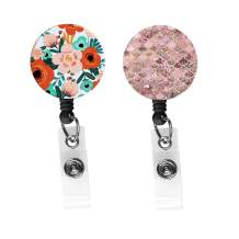 Badge Holder Retractable Nurse Badge Holder Badge Reel with Alligator ID Clip-Trendy Floral+Crystal Bubble