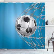 "Ambesonne Soccer Shower Curtain, Goal Football in Net Entertainment Playing for Winning Active Lifestyle, Cloth Fabric Bathroom Decor Set with Hooks, 84"" Long Extra, Blue Grey"