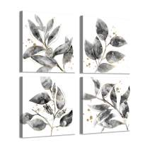 Leaf Canvas Picture Wall Art: Botanical with Gold Foil Pictures Painting on Canvas for Dining Room (16'' x 16'' x 4 Panels)