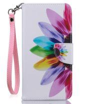 JanCalm iPhone 8 Plus Case, iPhone 7 Plus Wallet Case, [Wrist Strap][Kickstand][Card/Cash Slots] Pattern Premium PU Leather Wallet Case Flip Cover for iPhone 7/8 Plus + Crystal Pen (Rainbow Flower)