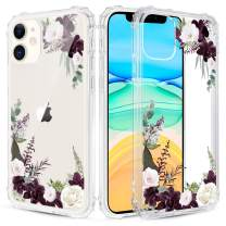 Caka Floral Clear Case for iPhone 11 Flowers Floral Pattern Design for Girls Women Girly Cute Slim Soft TPU Transparent Shockproof Protective Case for iPhone 11 (Red Flower)