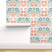 Spoonflower Peel and Stick Removable Wallpaper, Pastel Floral Folk Art Inspired Polish Embroidery Look Traditional Heritage Bright Flowers Print, Self-Adhesive Wallpaper 24in x 108in Roll