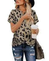KILIG Women's Casual Tops Leopard Print T-Shirt Basic with V Neck Button Short Sleeve Tees Blouse(Leopard,L)