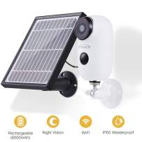 Indoor Outdoor Wireless Rechargeable Solar Powered Security Camera System CT-AYSPBC White 1 pcs 1080p HD 2 Way Audio Night Vision PIR