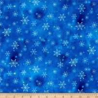 QT Fabrics Woodland Cuties Snowflakes Navy Fabric by the Yard