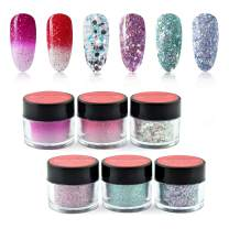 6 Box/Set Color Mood Changing Fine Dipping Powder Dip Nail Holographic Glitter Sequin Colors Kits,Red,Rose Pink,Blue,Blue, Silver (1-2-122-123-134-136-10g/box)