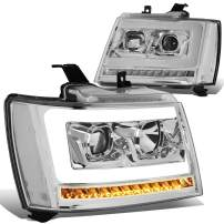 Pair LED DRL+Sequential Turn Signal Projector Headlight Lamp Replacement for 07-14 Tahoe/Suburban/Avalanche Chrome/Clear