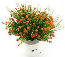 Bird Fiy Babys Breath Artificial Flowers,4 Bundles Gypsophila Flower Wedding Home Decor Gift(Orange)