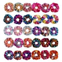 30 Pieces Metallic Scrunchies Shiny Elastic Hair Bands Scrunchy Gradient Mermaid Colors Hair Ties Ponytail Holder for Women Girls Hair Accessories,10 Colors 2 Sides in Different Color