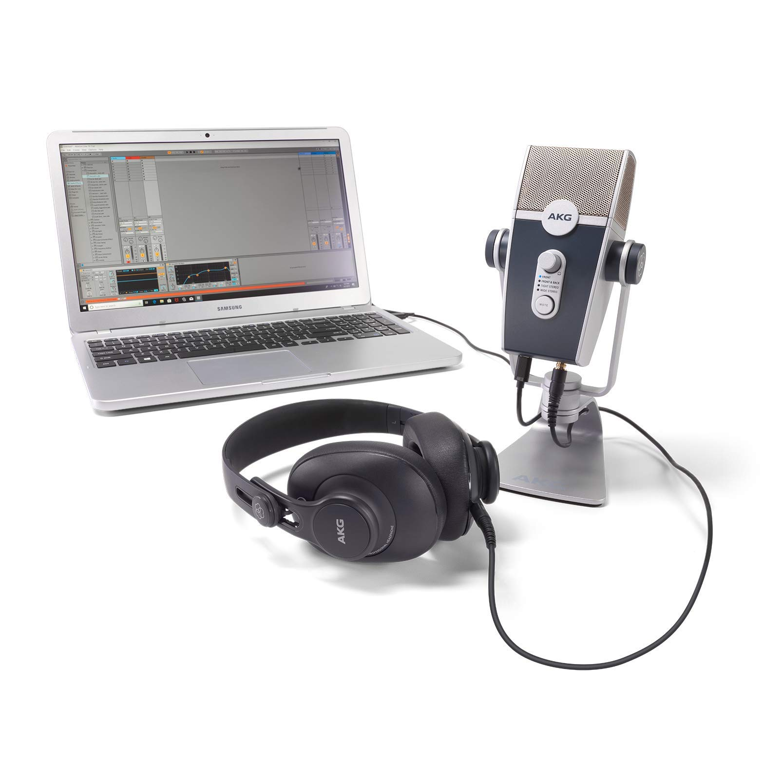 AKG Pro Audio Podcaster Essentials Kit for Streamers, Vloggers, and Gamers-Includes Lyra USB-C Microphone, K371 Headphones, and Ableton Lite Software