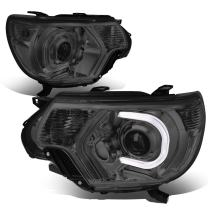 Replacement for Tacoma Pair of Smoked Lens Clear Corner 3D LED DRL Projector Headlight Lamp