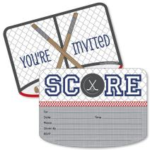 Big Dot of Happiness Shoots and Scores - Hockey - Shaped Fill-in Invitations - Baby Shower or Birthday Party Invitation Cards with Envelopes - Set of 12