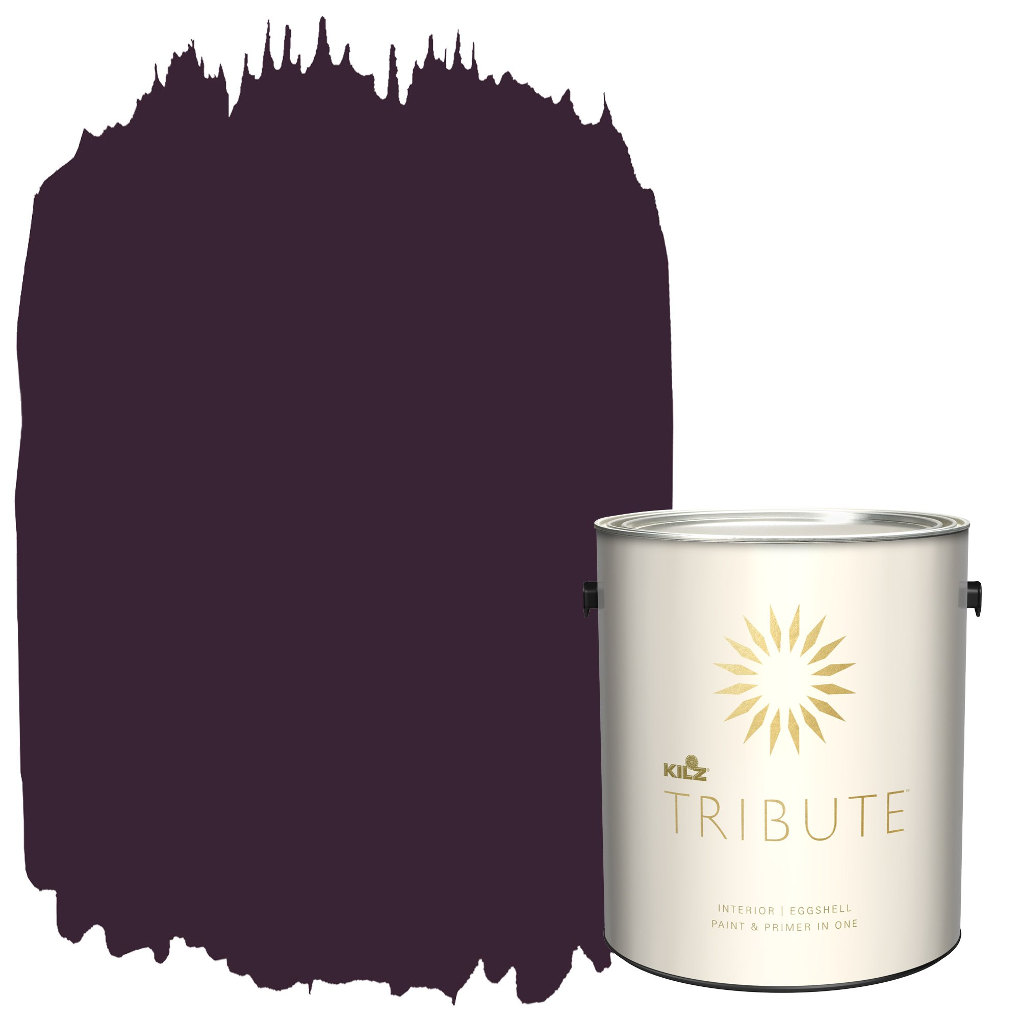 KILZ TRIBUTE Interior Eggshell Paint and Primer in One, 1 Gallon, Beetroot Purple (TB-100)