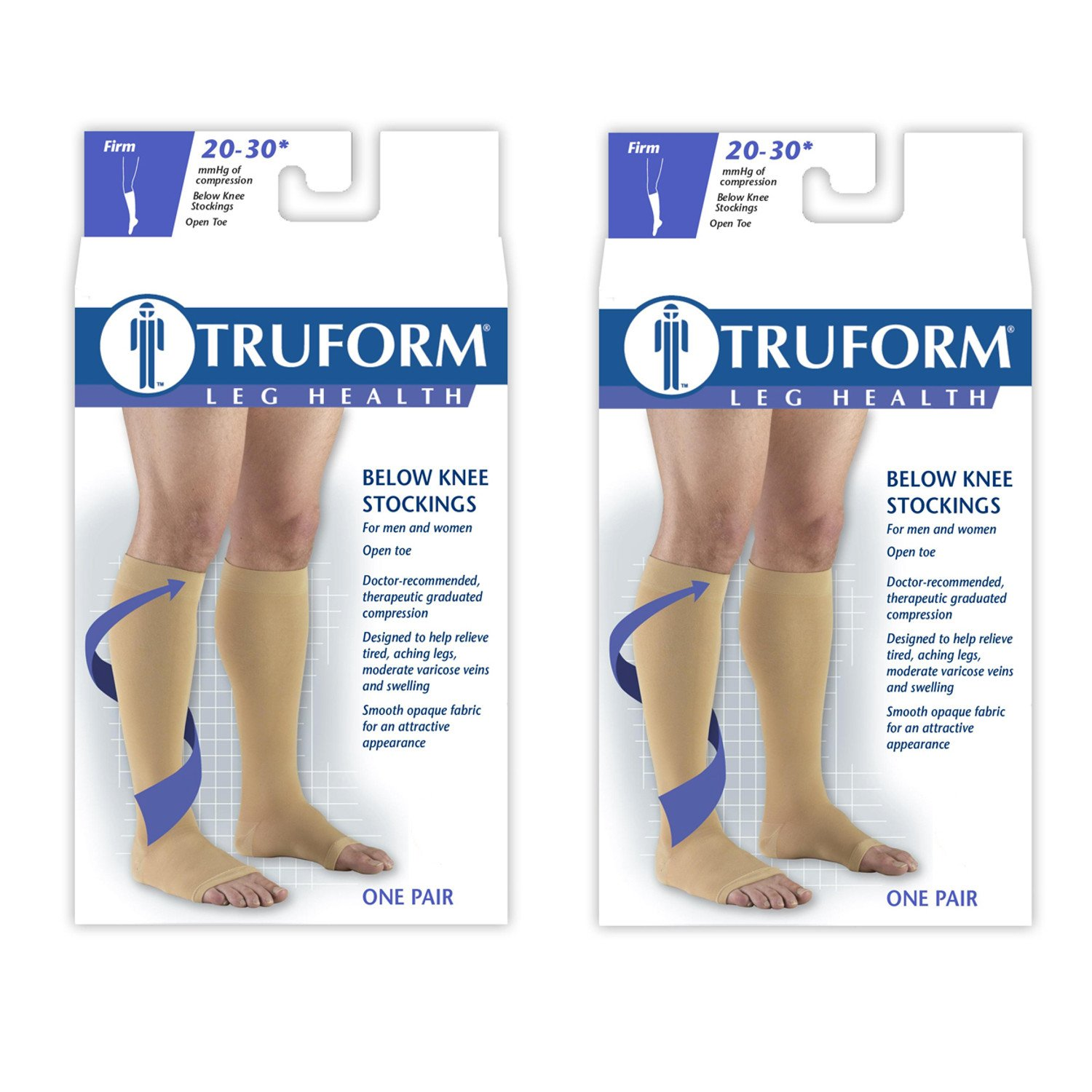 Truform Compression 20-30 mmHg Knee High Open Toe Stockings Beige, Large - Short, 2 Count