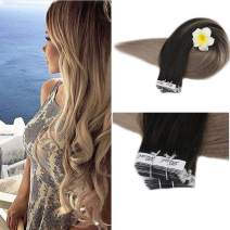 Full Shine Remy Tape Hair Double Sided Adhesive Tape 20 Inch Balayage Color 1B Off Black Fading To 18 Ash Blonde 100 Percent Human Hair Tape In Hair Extensions 20 Pcs Glue On Hair 50 Grams Full Head