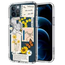 MOSNOVO Case for iPhone 12 Pro Max, Vintage Collage Sunflower Butterfly Slim Clear Case Design with Shockproof TPU Bumper Protective Cover Case for Women Girls