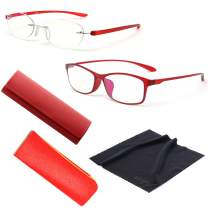 MIDI Reading Glasses Pack for Women (M-106N Set) / 2 Pairs of Stylish Blue Light Blocking Reading Glasses with Hard Shell Case, Soft Case and Cleaning Cloth (+3.00)