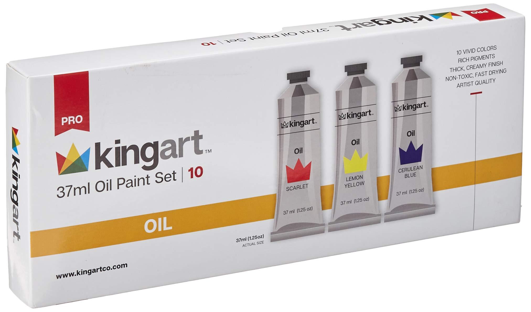 KINGART Oil Paint, 37ml Tubes, Set of 10 Unique Colors, Professional Paint, Metal Tubes