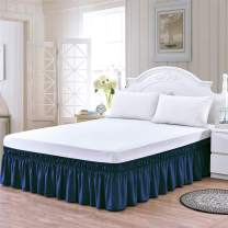 Lukeville Luxury Linen Bed Skirt Queen Size Wrap Around Bed Skirt 15 Inch Depth Easy Fit Gathered Style 3 Sided Coverage Navy Blue Solid