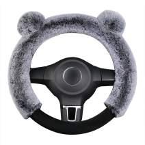 Cxtiy Universal Fluffy Steering Wheel Cover Fashion Cute Cartoon Shape Winter Car Warm Covers for Women Girls 15 Inch (15 inch, Gray)