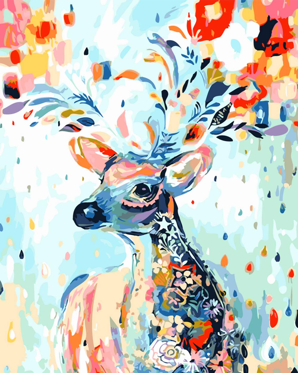 """Various Deer Series Paint by Numbers for Adults Kids Beginners Easy Acrylic on Canvas 16""""x20""""with Paints and Brushes,Colored Deer (Without Frame)"""