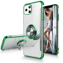 iPhone 11 Pro Max Case,WATACHE Clear Crystal Ultra Slim Soft TPU Electroplated Frame Case Cover with Built-in 360 Rotatable Ring Kickstand for iPhone 11 Pro Max,Green+Silver Ring