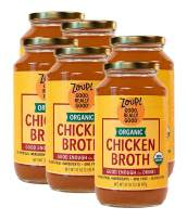 Organic Chicken Broth by Zoup! - Gluten Free, Non GMO, Fat Free Organic Chicken Broth - Great for Stock, Bouillon, Soup Base or to Drink, 6-pack of 31 oz Jars
