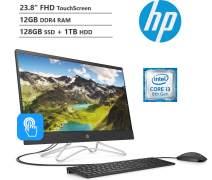 "KKE Upgrades 2020 Newest Touchscreen 23.8"" 1920 x 1080 FHD All-in-One AIO Desktop, Intel Core i3-8130U Processor, 12GB DDR4 RAM, 128GB PCIe SSD + 1TB HDD, HDMI, DVDRW, Wireless-AC, Windows 10"