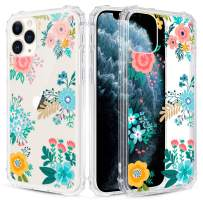 Caka Flower Clear Case for iPhone 11 Pro Max Floral Clear Flower Floral Pattern Design for Girls Women Girly Cute Slim Soft TPU Protective Case for iPhone 11 Pro Max (Blue Yellow)