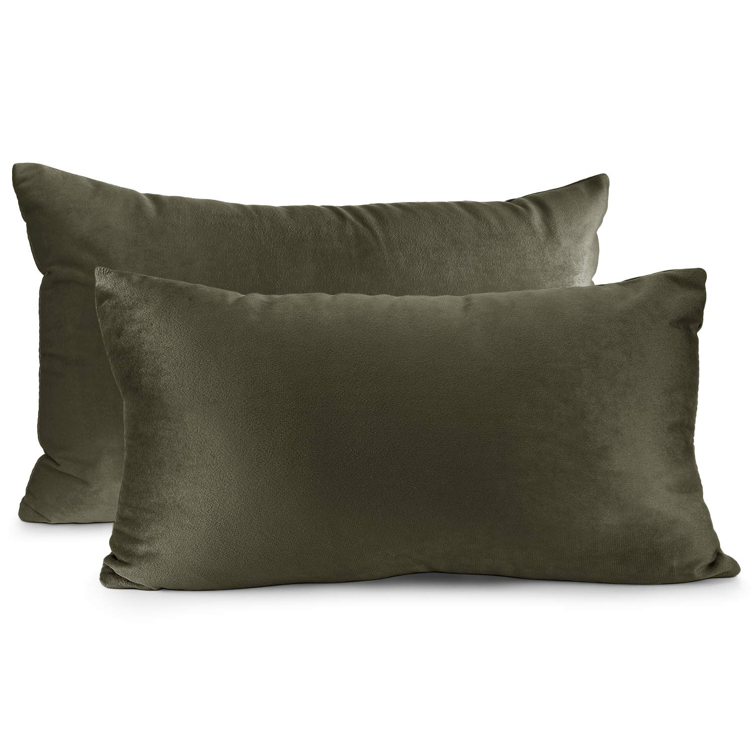 """Nestl Bedding Throw Pillow Cover 12"""" x 20"""" Soft Square Decorative Throw Pillow Covers Cozy Velvet Cushion Case for Sofa Couch Bedroom, Set of 2, Khaki"""