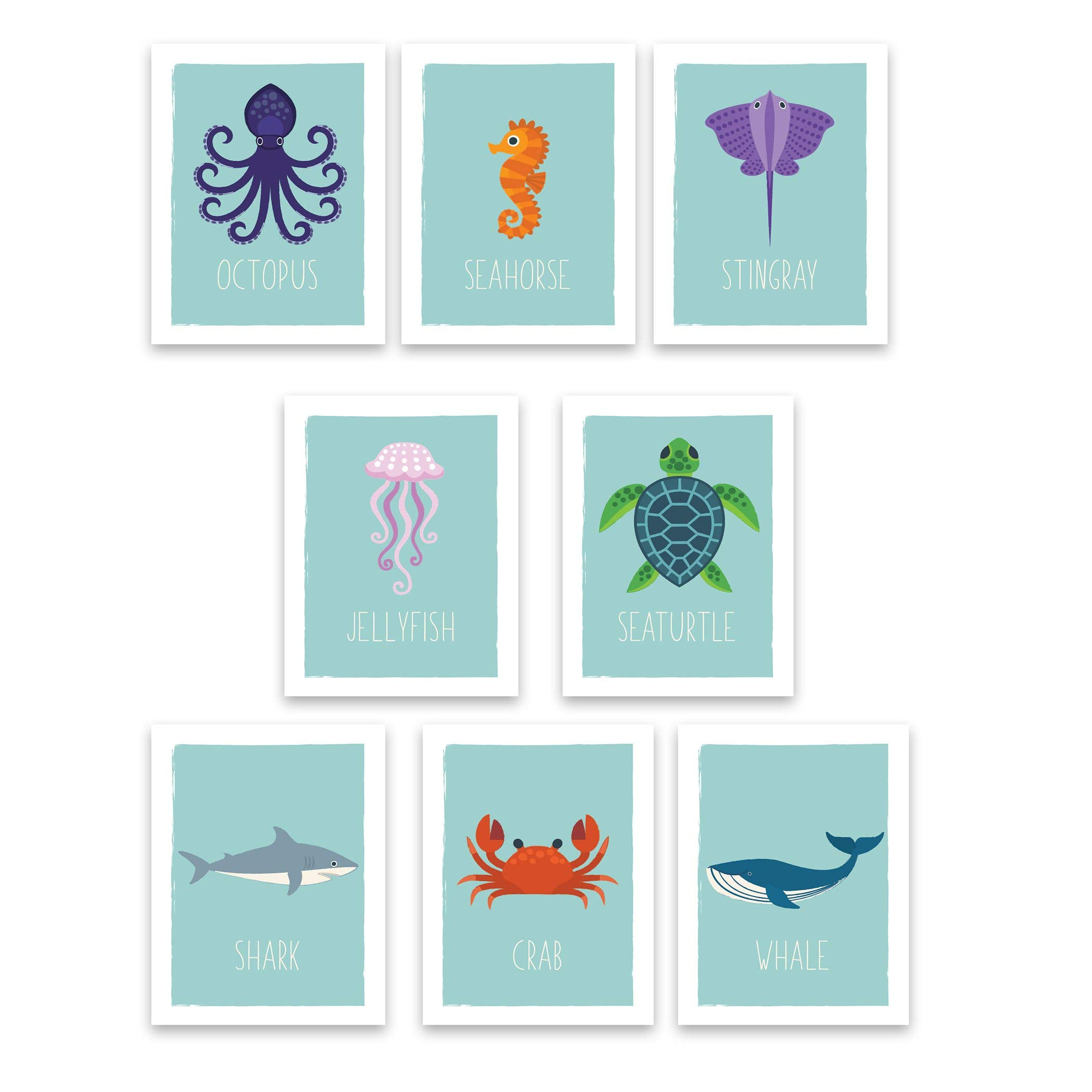 """Ocean Animals Wall Cards   Nautical Nursery Room Decor   Kids Educational Marine Art   Perfect Toddler or Baby Shower Gift   Set of Eight 5x7"""" Prints for Classrooms, Daycare and Playrooms"""