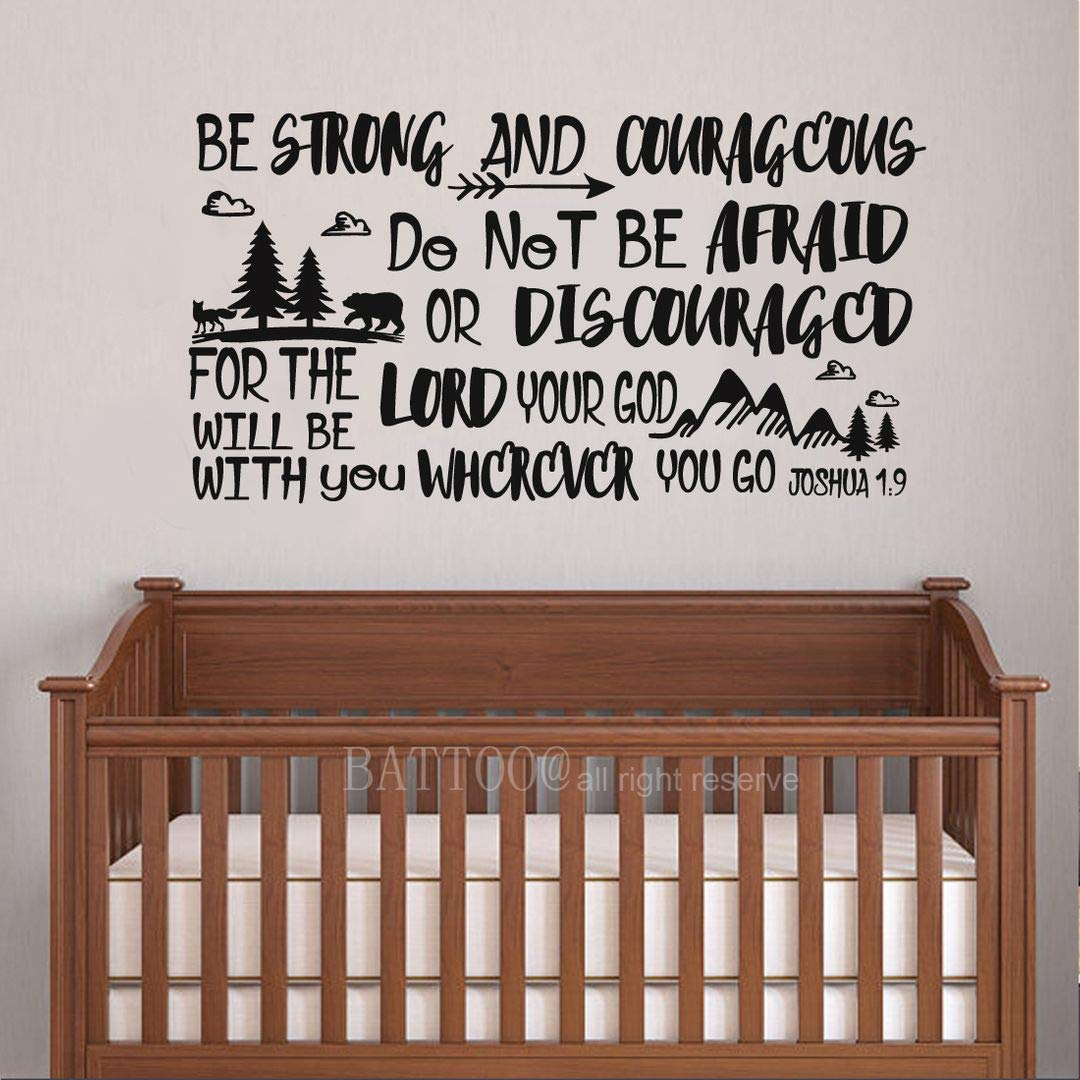 """BATTOO Be Brave Strong and Courageous- Joshua 1:9 Bible Scripture Wall Decal Quotes for Boys Room Boys Nursery Baby Room Vinyl Letters Inspirational Wall Decor(Black, 42"""" WX22 H)"""