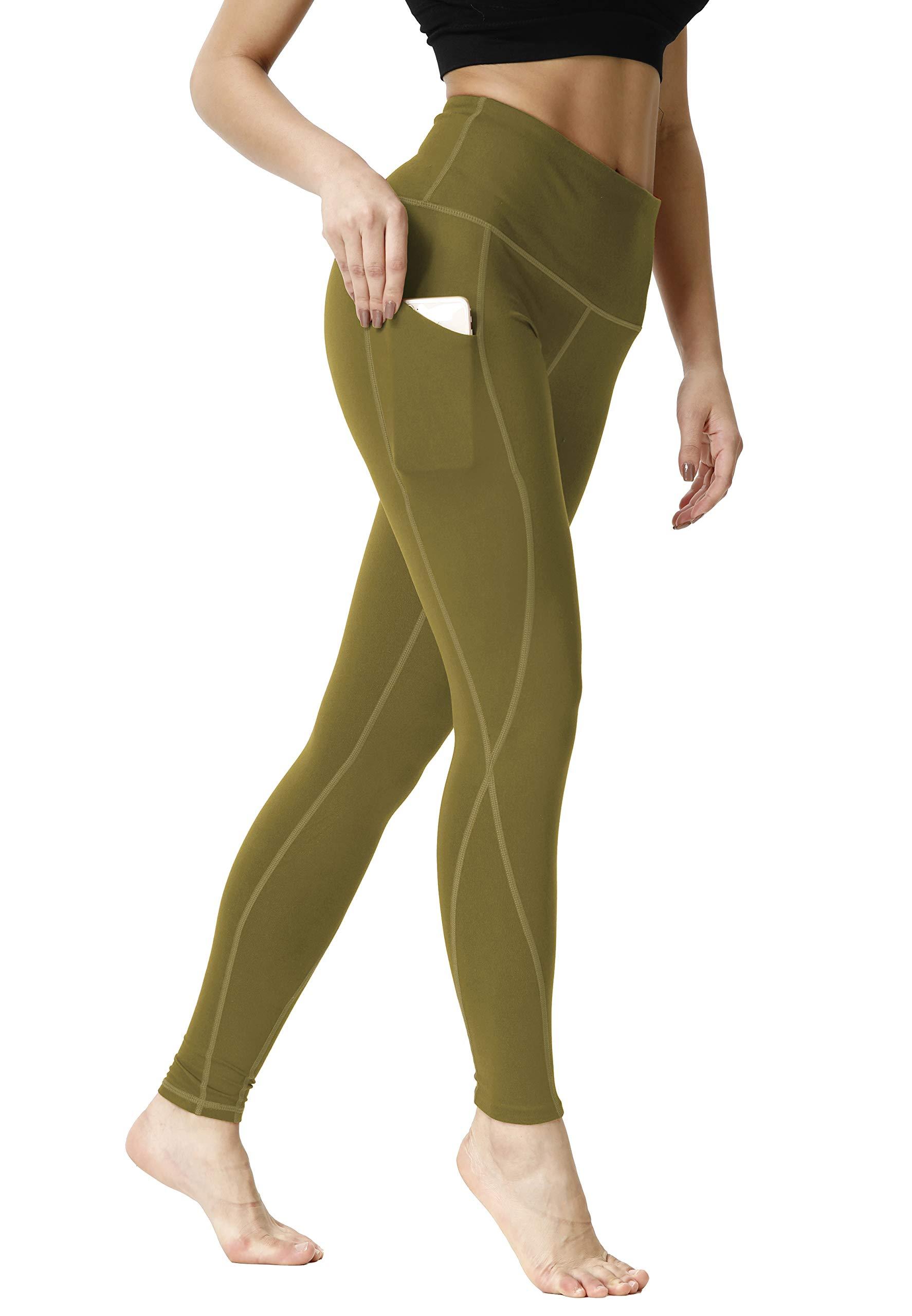 SILKWORLD Women's Yoga Pants Pockets High Waist Stretch Workout Leggings