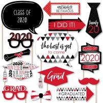 Big Dot of Happiness Red Grad - Best is Yet to Come - Red 2020 Graduation Party Photo Booth Props Kit - 20 Count