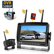 """Wireless Backup Camera, DOUXURY IP69 Waterproof 170° Wide View Angle HD 1080P Backup Camera + HD LCD 7"""" Monitor, DVR Recording Backup Camera System for Truck Pickup Trailer Camper Bus RV 5th Wheel"""