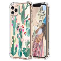 """Hepix Cactus iPhone 11 Pro Case Cacti Flowers Pattern Clear 11 Pro Cases for Girls, Slim Soft Flexible TPU Frame with Protective Bumpers Anti-Scratch Shockroof for iPhone 11 Pro 5.8"""" Gifts Choice"""