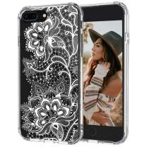 MOSNOVO iPhone 8 Plus Case, iPhone 7 Plus Case, Lacy Flower Pattern Printed Clear Design Transparent Plastic Hard Back Case with TPU Bumper Protective Case Cover for iPhone 7 Plus iPhone 8 Plus