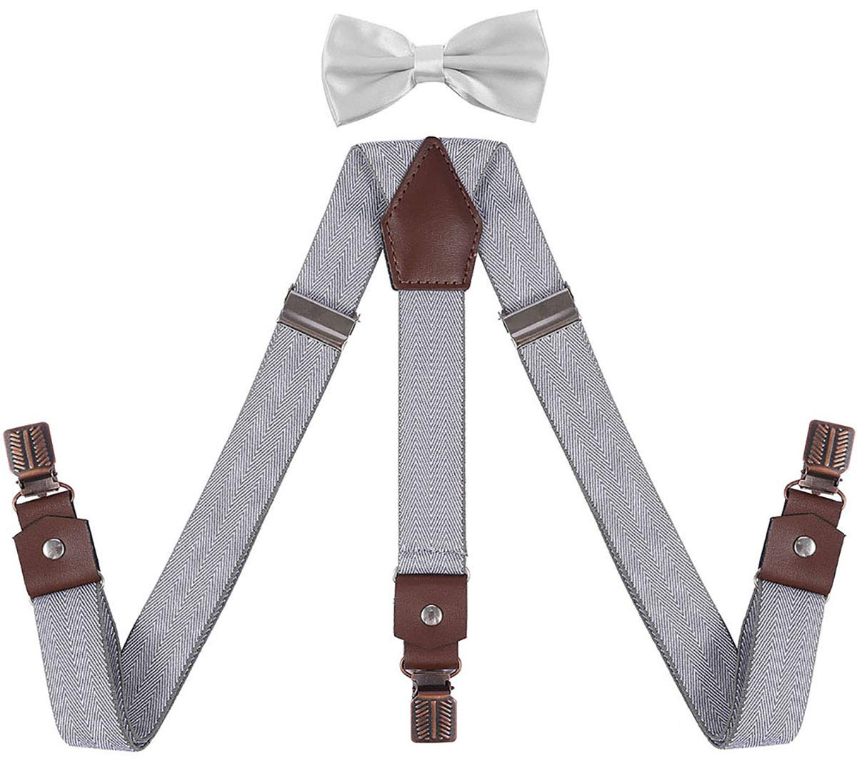 YJDS Men's Suspenders and Bow Tie Set with Antique Bronze Clips Y Back Leather