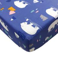Brandream Baby Boys Fitted Crib Sheet Navy Blue Crib Sheets with White Bears Print, Woodland Animal Crib Sheet Sets for Boys, Navy/White 100% Cotton