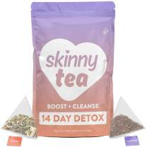 Skinny Tea 14 Day Detox Tea for Weight Loss and Reduced Tummy Bloating: The Original 2-Step Detox Tea Program Includes 14 Morning Boost & 14 Evening Cleanse Pyramid Tea Bags