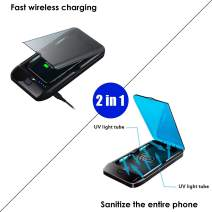 2 in 1 UV Phone Sanitizer,Phone Sterilizer Cleaner Case with Wireless Charger/USB Charger, Wireless Charging and sterilizing The Entire Phone at The Same time (Charger & sanitizer)
