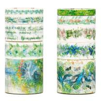 Molshine Floral Washi Masking Tape Set of 10, Spring Flower Decorative Sticky Paper Tapes for DIY Craft, Gift Wrapping, Bullet Journal, Planner, Scrapbooking (B)