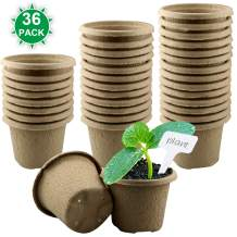 Dreecy 4in Peat Pots for Garden Seedling Tray 100% Eco-Friendly Organic Germination Seedling Trays Biodegradable 36 Pack and 18 Plastic Plant Markers Included