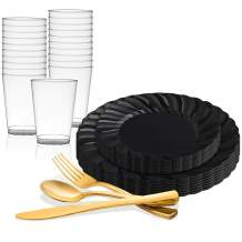 Elegant Disposable Plastic Dinnerware Set for 72 Guests - Fancy Flared Black Dinner Plates, Dessert Salad Plates, Gold Silverware Set & Cups For Christmas, Weddings, Birthday Party & All Occasions