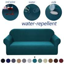 Granbest Premium Water Repellent Sofa Cover High Stretch Couch Slipcover Super Soft Fabric Couch Cover (Blackish Green, XL Sofa)