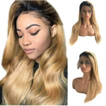 Ombre Human Hair Lace Front Wigs Balayage Real Remy Hair Wig Dark Roots Black to Strawberry Blonde Long Straight Wig 13x6 Lace Frontal Pre Plucked Bleached Knots Glueless Natural Full End 18 Inch